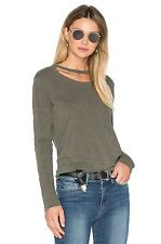 WILT Canteen Green Raw Double Neck Slouchy Slub Jersey Top New
