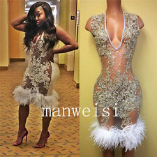 Sexy Deep-V-Neck Evening Dresses Party Pageant Prom Gowns Rhinestones Feather