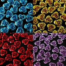 wholesale 50Pcs Aluminum Metal Rose Flower Spacer Beads 8mm Jewelry Making Craft