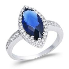 Sterling Silver 925 PRETTY MARQUISE BLUE SAPPHIRE CZ ENGAGEMENT RING SIZES 5-10