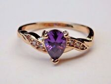 Beautiful 18k Yellow Gold Filled GF Purple Sapphire Ring - sizes 7,8,9
