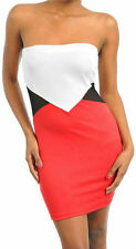 Dress Strapless S M L Sexy Stretch Colorblock Mesh See Thru Panel Club Woman New