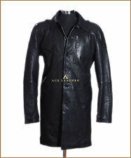 Victor Black Men's Knee Length Lambskin Leather Overcoat Trench Coat Mac Jacket