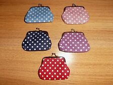 Ladies...young Girls Polka dot linen coin purse.