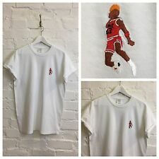 Actual Fact Jordan Slam Dunk Embroidered Basketball Supreme White Tee T-Shirt