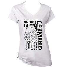 THOMAS HOBBES CURIOSITY QUOTE - NEW WHITE COTTON LADY TSHIRT