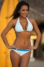Sexy UjENA Silicon Valley Monaco Blue Belted Halter Bikini Swimsuit S-LL H206