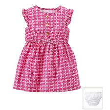 Carters Baby Girls Two-Piece Dress & Diaper Cover - Pink Geo Print
