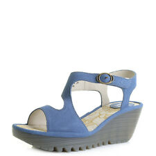 Womens Fly London Yanca Smurf Blue Leather Wedge Sandals Shu Size