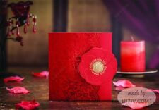 50 Pcs Red Wedding Invitations Printable Marriage Cards Party invites CWB6062