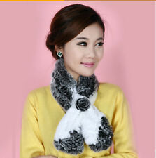 Womens Real Rex Rabbit Fur neck warmer  muffler scarf scarves wrap cape shawl
