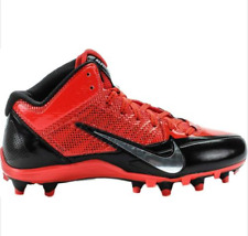 NIKE ALPHA PRO D FOOTBALL CLEATS-RED W/METALLIC SILVER NEW-SIZE 14 -RETAIL $100