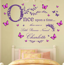 Personalised Name, Once Upon a Time Princess, 3D Butterflies - Wall Art Sticker