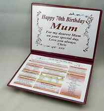 SPECIAL 70TH BIRTHDAY GIFT- THE DAY YOU WERE BORN - KEEPSAKE -FULLY PERSONALISED