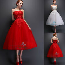 Red/White Lace Appliques Net Formal Bridal Dresses Ball Gown Wedding Dresses6-16