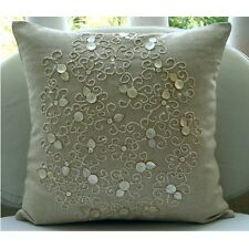 Mother Of Pearls Beige Cotton Linen 35x35 cm Throw Cushion Cover- Pure Treasures