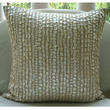 Mother Of Pearls 30x30 cm Cotton Linen Ecru Cushion Covers - Purely Pearls