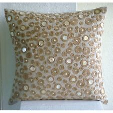 Beige Dotted Jute 40x40 cm Cotton Linen Throw Cushions Cover - Jute Centric