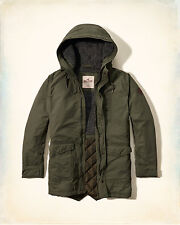 NWT Men Hollister by Abercrombie coated cotton sherpa parka jacket XL Olive