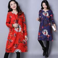 Women Ethnic Boho Cotton Linen Loose Long Sleeve Maxi Dress Gypsy Blouse D0D4
