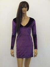 NEW WOMENS PURPLE VELVET LACE UP BACK DETAIL BODYCON MINI PARTY DRESS SIZE 8-16