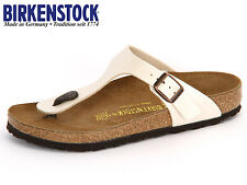 BIRKENSTOCK ARIZONA  GIZEH  PATENT WHITE / BLACK Arizona Soft Footbed NEW L M 98