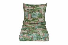 In / Outdoor Solar Key Biscayne Bayou Palm Tree Deep Seating Cushion 2 Pc Set