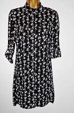 NEW F&F Shirt Dress Black White Long Chiffon BLOUSE Tunic 6 - 22