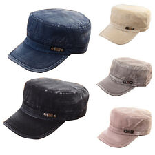 Stylish Men Plain Vintage Hat Army Military Cadet Style Cotton Cap Adjustable