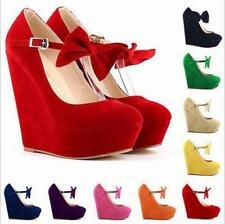 Womens High Platform Wedge Pumps Classic Ankle Strap Bow Suede Shoes Size 4.5-10