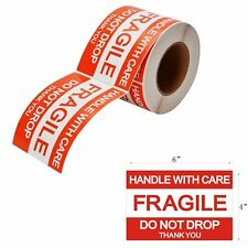 500 4X6 Red FRAGILE Stickers Handle with Care Labels Shipping Mailing Rolls