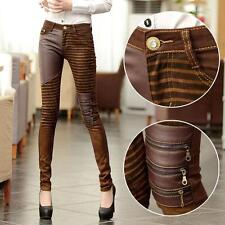 US New Womens Elastic Leather Trousers Leggings Bootcut Ladies Pencil Pants Size