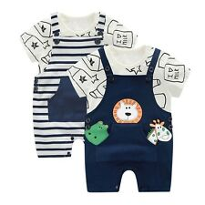 Infant Baby Toldder Boy Girl Summer Cotton Printing T-shirt Top+Braces Pant Set