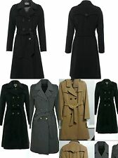 Womens Ladies New Double Brested Belt Wool Cashmere Long Military Trench Coat
