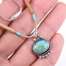 HANDMADE 925 Sterling Silver Necklace Chain with Green Turquoise Gemstone MM1539