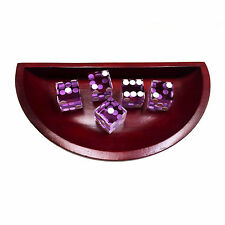 Wooden craps dice bowl boat with 5 Purple dices set