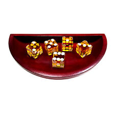 Wooden craps dice bowl boat with 5 Yellow dices set