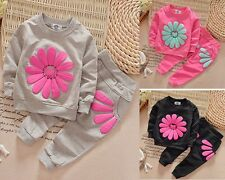 2pcs baby Girls clothes cotton long sleeve Top+pants baby girl tracksuit flower
