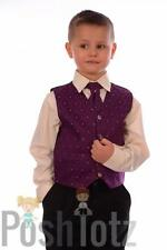 Baby Boys Suits Formal, Wedding, Pageboy 4pc Purple & Black Suit 0-3mths-15yrs