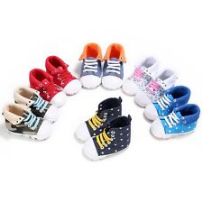 Newborn Baby Boy Girl Crib Shoes Toddler Soft Sole Walking Shoes 0-18 Months New