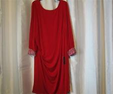 NWT Jessica Howard Woman Cocktail Dress Red Beaded Cuff 20W 22W 24W Org $109