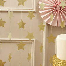 2M Golden Glitter Stars Bunting Wedding Birthday Holiday Party Celebration Decor