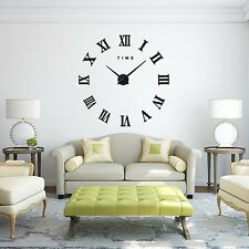 3D Modern Large Wall Clock DIY Roman Numerals Home Office Removable Decoration