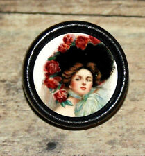 RED ROSE HAT Victorian Fashion Altered Art Tie Tack or Ring or Brooch pin