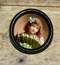 VICTORIAN photo GIRL w geisha Fan Altered Art Tie Tack or Ring or Brooch pin
