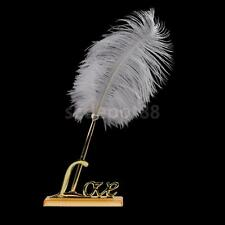 Romantic Guest Book Signing Pen Rose Flower Feather Love Holder Wedding Gifts