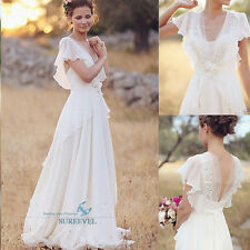 White Ivory Bohemian Chiffon Wedding Dresses Lace Beach Bridal Gowns Outdoor