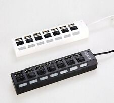 7 Ports USB LED High Speed Adapter USB HUB With Power on/off Switch