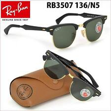 AUTHENTIC RAY-BAN RB3507 136/N5 CLUBMASTER BLACK GOLD POLARIZED 49mm SUNGLASSES