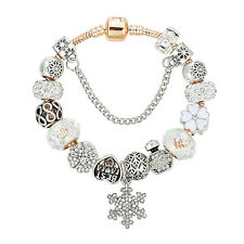 Silver Plated Snowflake Charm Bracelet For Women DIY Crystal Beads Bracelets & B